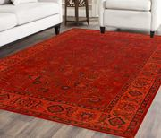 Rugsville Vintage Kashan Orange Red Overdyed Rug